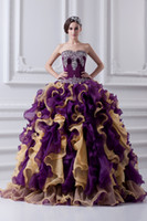 Wholesale Sexy Purple Quinceanera Dresses Long Ball Gowns Tiered Hot Sale Cheap Fast Shipping Cheap Quinceanera Dresses