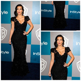 Wholesale 2014 Evening Dress kim kardashian black lace floor length deep v neck mermaid hip slim red carpet dress celebrity dress
