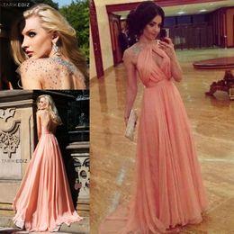 Wholesale Stunning Unique Design Sexy Halter Rhinestone Chiffon Peach Color Long Prom Dress Women WH425