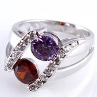 Wholesale NEW ROUND CUT GARNET amp AMETHYST amp WHITE TOPAZ SILVER RING SIZE R1