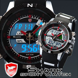 Wholesale Mens Sport Wrist Watch LCD Army Dual Display Alarm Chronograph SHARK Luxury Watches Box SH043