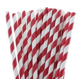 3000pcs Charming Dark Red Striped Paper Drinking Straws Best for Baby Shower Halloween and Christmas Party FREE SHIPPING by DHL FEDEX EMS