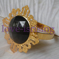 Iron ECO Friendly  Lowest Price--Black Gem Stone Gold Plated Napkin Rings Wedding Bridal Shower Napkin holder-- Free Shipping