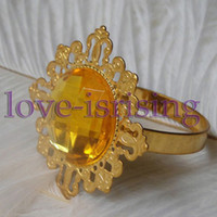 Iron ECO Friendly  Lowest Price--Peach Gem Stone Gold Plated Napkin Rings Wedding Bridal Shower Napkin holder-- Free Shipping