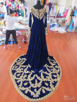 Wholesale 2014 Real Picture Elegant New royal blue evening gowns beaded jewel long sleeve britain Designer Vintage Wedding dresses luxury high quality