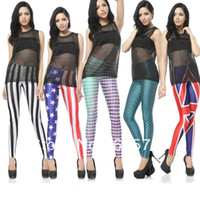 Leggings Skinny,Slim Women Fashion Brand Women Fish Scale Mermaid and USA Flag Printed Sexy Leggings With Designs Skinny Tights7 Style#PA056