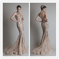 Wholesale 2016 Tarik Ediz Mermaid Evening Gowns Sexy High Neck Sequin Sheer Lace Applique See Through Tulle Prom Dresses with Covered Buttons