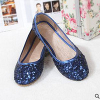 Wholesale Sequins Dress Shoes OL Flat Heel Blue Grey Brown Pink Black Champagne Silver Color Mix Color Low Price prs