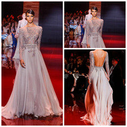 Wholesale 2014 Newest Appliqued And Beaded Decorated Elie Saab Prom Dresses Bateau Sheer Long Sleeve A Line Floor Length Chiffon Evening Dress BG