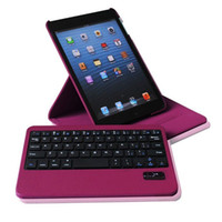 Wholesale 360 Rotating Removable Bluetooth keyboard with Leather Case cover for ipad mini
