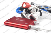 Cheap RED Dental Surgical Binocular Loupes 3.5X Optical Glass420mm+LED Head Lamp light MYY8234