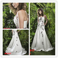 Wholesale 2014 New Arrival Halter Neck Ruched Handmade Flowers Embroidery Dark Red and White Satin Beading Sequins Wedding Dresses Bridal Gown B2317