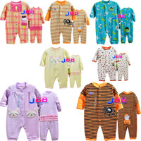 Wholesale baby bodysuits baby rompers baby clothing baby boy girls long section of the animal pattern romper newborn clothing set KA573