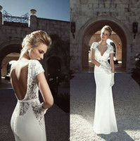 Wholesale 2015 Vintage Backless Beach Wedding Dresses Sheer V Neck Short Sleeve Sheath Floor Length White Stretch Satin Berta Bridal Gowns