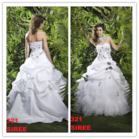Wholesale 2014 New Arrival Sweetheart Beaded Appliqued White Taffeta Black Flowers with Feather Ball Gown Wedding Dresses Bridal Gown B2321 Pick Up