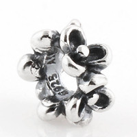 Wholesale Leaf flower around sterling silver charm s925 ale stamped bead suitable for pandora fashion bracelet necklace snake chain LW162