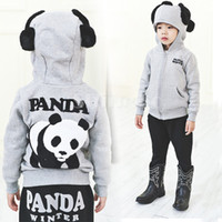 Wholesale New Arrivals Unisex Baby Kids Cotton Blended China Panda Design long sleeve Hoodies Sweatshirt Coat Clothing For Spring Autumn Winter