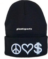 Wholesale Whosale Hi Q acrylic PEACE LOVE MONEY NEW Hot Design Symbol Skullies amp Beanie Winter long warm Acrylic casual Beanie football cap