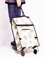 Wholesale FreeShipping Portable shopping bag folding shopping cart car travel bag with wheels