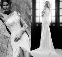 Trumpet/Mermaid Reference Images One-Shoulder 2014 White Lace Long Sleeve Sweep Train Wedding Dresses One Shooulder Split Side Organza Appliques Crystal Stretch Satin Get Free A Veil