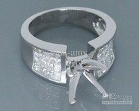 Wholesale Jewelry Round mm Solid kt White Gold Ct Diamond Engagement Semi Mount Ring Amazing Fancy
