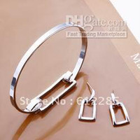 Wholesale Factory price top quality sterling silver jewellery bangle bracelet amp earring jewellery set free