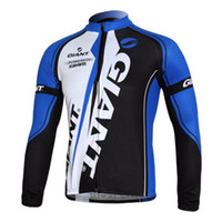 Wholesale GIANT POWEREDBY SRAM Cycling Jerseys Winter Blue Jerseys Breathable Polyester Tight Fit Cycle Jerseys Comfortable Winter Men Cycling Tops
