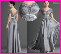 Wholesale 2015 New Empire Waist Mother of the Bride Dresses Ruched V Neck Full Length Cap Sleeve Silver Gry Chiffon Mother of the Groom Dress J1665022