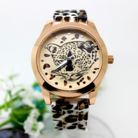 Wholesale Women s Geneva Leopard Cheetah watch gold color Silicone Wristwatches Quartz Ladies dress watch dropship Sport Watch