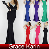 Reference Images grace karin - Grace Karin Hot Sexy Deep V Neck Backless Long Mermaid Evening Dresses Beading Sequins Formal Gowns US2 CL6061