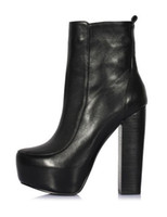 Wholesale Formal Black Cow Leather Chunky High Heel Women s Ankle Boots womendresshop u9 V1C