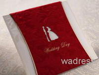 Invitation Cards Folded Red RED bride and brideroom Invitation card Wedding Invitations come envelopes sealed card 50pcs lot