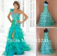 Reference Images Chiffon Sexy Wholesale - 2014 New Sexy One Shoulder Peacock Prom Dresses Beaded Ruffles Organza Slit Front Pregnant Party Dresses 9333