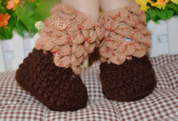 Wholesale High warm brown boots Heart shaped lace crochet shoes Neonatal Velcro ugg boots Soft bottom toddler shoes China discount shop pair