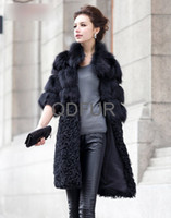 Coats Women Fur QD22111 2013 New Women Fashion Genuine Fox Fur Coat &lamb fur Ladies' Winter Long Outwear Wholesale Retail Free shipping OEM