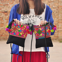 Wholesale Newest Hmong Criss Cross Embroidery Women Messenger Bags Vintage small pompon shoulder bags Ethnic Casual bags Purse