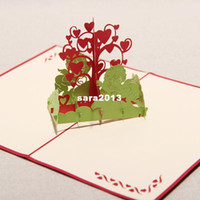 Wholesale Handmade Fall in Love The Angels amp Hearts Tree Kirigami amp Origami Creative Pop UP Greeting Cards set of