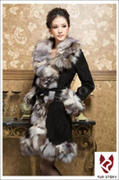 Wholesale Real Leather Coat silver fox fur collar and trim outwear garment New