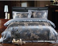 Wholesale Luxury Jacquard silk cotton queen king size bedding sets satin quilt duvet comforter covers bed sheet linen bedclothes set home textile