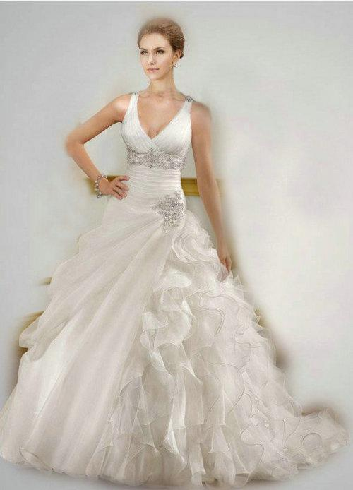 2014 designer ball gown wedding dresses 1817 ruffled organza v neck asymmetrical beaded crystal straps lace up chapel train bridal gowns best ball gown