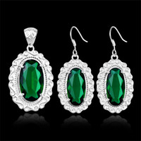 Wholesale Valentine s Day Gifts _ Silver Jewelry Sets For Women Green Quartz Gemstone Fashion Pendant Earring Jewelry Sets Z0056