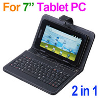 Wholesale Universal inch PU Leather Case Cover with USB Keyboard amp bracket for VIA android ainol quot Tablet PC MID PDA