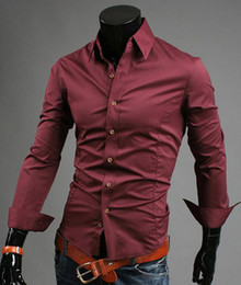 Wholesale Men s long sleeve shirt England shirt autumn and winter hot models burgundy Mens Dress Shirts CZJ569H