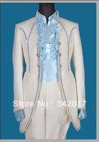 Actual Images Cotton Suits 2014 Custom-Made Real Sample White with Gold Line Groom Tuxedos Suits For Wedding Evening Formal Men Suit custom