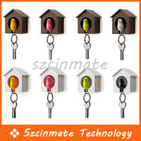Wholesale Sparrow Bird House Nest Whistle Key Holder Chain Ring Keychain Holder Boxed