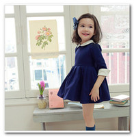 Wholesale korean kids pleated Dress girls lapel School uniforms dress children s clothing Blue