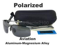 achat en gros de cadre lunettes de soleil polarisées-1pcs Hommes en alliage d'aluminium magnésium alliage lunettes de soleil polarisées Gun métal cadre pour la pêche conducteur masculin sans logo