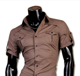 Wholesale Men s short sleeve shirt Korean military style pointed collar men s shirts with short sleeves shirts men s