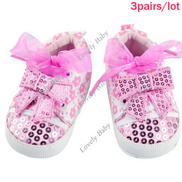 Wholesale pairs Girls Infant Baby Toddler Shoes Cute Ribbon Bowknot Non slip Soft Sole First Walker Shoes color Pink