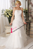 Cheap Free Shipping Strapless Applique With Beading Ruched Tulle Pin Up Hand Made Flower Wedding Dress Bridal Gown vestidos de novia